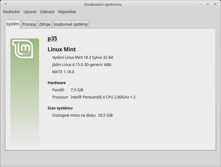 Obrázek Sledování systému Linux Mint 18.3.